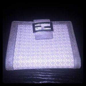 Seasonal collectable FENDI wallet logo embellished